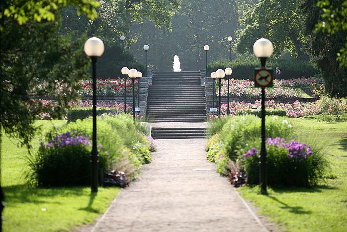Le jardin des 100 roses. Un jardin en escalier dans lequel sont plantées 100 espèces de roses différentes