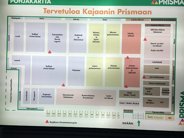Ce qui est bien en Finlande, c'est qu'ils ne traduisent rien en anglais. Du coup, on est souvent paumés. Ici, le plan du supermarché. très utile.